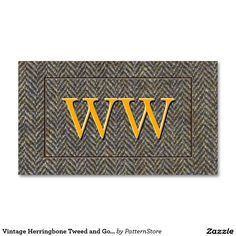 Vintage Herringbone Tweed and Gold Monogram Double-Sided Standard Business Cards (Pack Of 100)