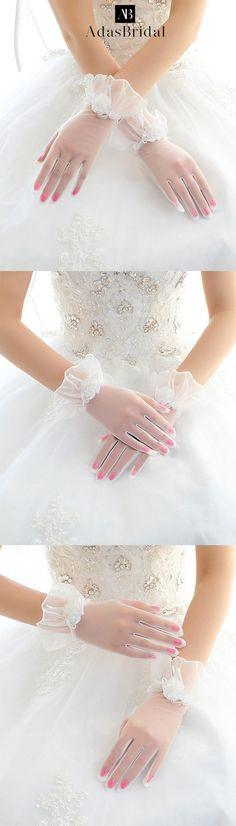 In Stock Elegant Net White Wrist Length Wedding Gloves