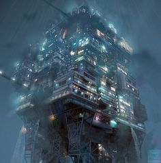 Caliguari's Drop by sleepcircle.deviantart.com on @DeviantArt / digital art / sci fi city building / city lights / cyberpunk