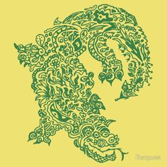 """Doodle dragon - Green"" T-Shirts & Hoodies by Becpuss 