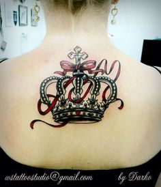 crown tattoo with rose