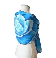 Womens Scarf blue Painted rose scarf Floral scarf Blue rose