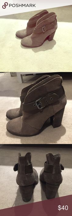 BCBG suede booties BCBG suede booties with strap and buckle. So comfortable, perfect height. These look better with wear! A few Knicks on the heel are pictured. Great for any season. BCBG Shoes Ankle Boots & Booties