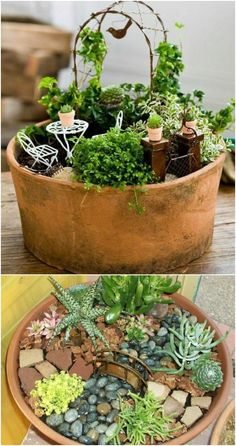 20 Magical DIY Fairy Gardens That Add Wonder To Your Home And Garden – Fairy gardens are so much fun and you just won't believe how easy they are to make. In fact, I have collected 20 magical DIY fairy gardens that will help you to add wonder to your home Fairy Garden Pots, Indoor Fairy Gardens, Fairy Garden Houses, Miniature Fairy Gardens, Fairies Garden, Garden Bed, Flowers Garden, Mini Cactus Garden, Dish Garden