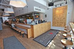 New Kitchen Layout Restaurant Subway Tiles Ideas Small Restaurant Design, Fast Casual Restaurant, Casual Restaurants, Small Restaurants, Restaurant Concept, Coffee Shop Design, Cafe Design, Cafe Concept, Burger Restaurant