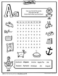 letter a word find abc activity sheets storybots - Fun Activity Sheets