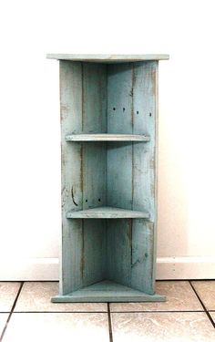Handmade Corner Bookcase Alice Blue Two by thesummeryumbrella, $44.99