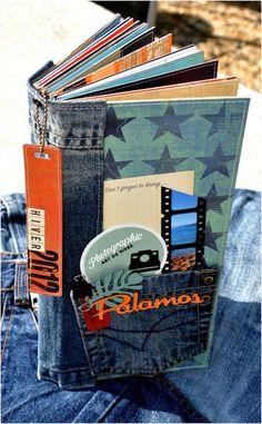 great idea with the jeans--Photo album. Mini Album Scrapbook, Mini Albums Scrap, Photo Album Scrapbooking, Photo Polaroid, Handmade Books, Handmade Journals, Album Book, Book Journal, Smash Book