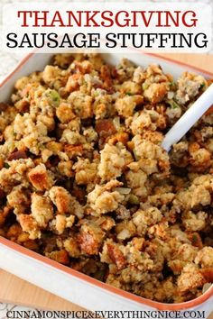 Best Thanksgiving Dressing Recipes you'll love to use this year - Hike n Dip Make your Thanksgiving dinner special with these amazing Thanksgiving Dressing recipes. These Thanksgiving Stuffing recipes are the best thing about holiday Turkey Stuffing Recipes, Stuffing Recipes For Thanksgiving, Turkey Stuffing With Sausage, Easy Thanksgiving Side Dishes, Jimmy Dean Sausage Stuffing Recipe, Cornbread Sausage Stuffing, Cornbread Dressing With Sausage, Stuffing Muffins, Best Stuffing Recipe