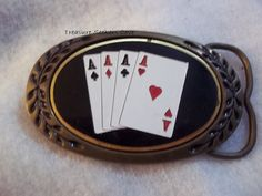 4 Aces Belt Buckle Heritage Buckles  Solid Brass Poker Gambling  Belt Buckle Good Condition   Vintage   Measures approx. 3 1/2 x 2  Please see all pictures. Ask any and all questions before bidding/purchasing. I am a reliable seller. I have been selling online for years. I was away from selling for a few years due to health reasons.  I am selling my sister-in-laws estate for the family. She was a HUGE NASA fan and had a close friend who worked there and could get her into many shutt...
