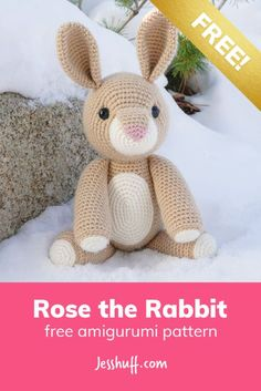 You don't have to be a magician to pull this rabbit out of your hat! Give her a chance and Rose the Rabbit will hippity hop her way into your heart. rabbit Rose the Rabbit Free Amigurumi Pattern Crochet Bunny Pattern, Crochet Amigurumi Free Patterns, Crochet Animal Patterns, Stuffed Animal Patterns, Crochet Dolls, Free Crochet, Crochet Baby, Stuffed Animals, Crotchet