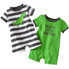 Carter's 2-pk. Dinosaur and Monster Knit Rompers - Baby ($12) ❤ liked on Polyvore