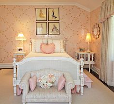 Antique barbie prints are a great addition to the shabby chic girl's bedroom in pink