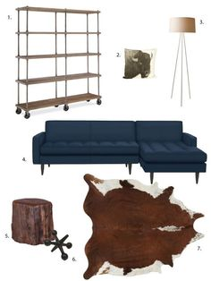 Navy Sofa, stump side table and interesting shelving - decor / One Design, Two Budgets: Rustic + Industrial Living Room Industrial Living, Industrial Interiors, Rustic Industrial, Industrial Furniture, Home Decor Bedroom, Living Room Decor, Living Rooms, Cow Hide Rug, One Design