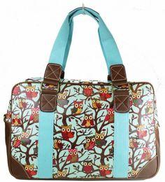 Ladies Oilcloth Blue Owls animal Print Satchel Cross Body Messenger Bag Handbag