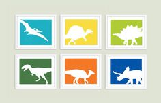 Dinosaur Digital Prints  Set of Six 8x10  Wall Art  by AldariArt, $90.00