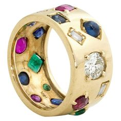 Multi Gem Gold Ring #CocktailRings