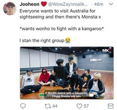 Monsta X in Australia - The members want Wonho to fight with a kangaroo