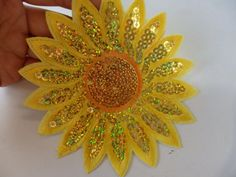 4 large sunflower applique beaded sequin embroidery iron on motif patch sew on embellishment