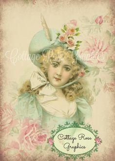 Vintage Victorian Rosebuds lady Roses Large by CottageRoseGraphics Images Vintage, Vintage Pictures, Vintage Cards, Vintage Postcards, Vintage Prints, Lady, Moda Vintage, Pink Hat, Victorian Women