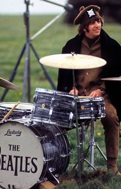 """May 3, 1965 Ringo Starr during the filming of """"Help"""" in Salisbury Plain.. By this point in filming, the band's new single 'Ticket to Ride' was number one in the UK charts, offering the public their first taste of the upcoming Help! soundtrack and album"""