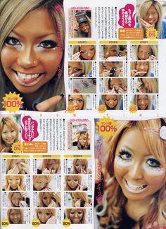 TSS - Ganguro - Very interesting article! Gyaru Hair, Gyaru Makeup, Fairy Makeup, Mermaid Makeup, Makeup Art, Gothic Makeup, Fantasy Makeup, Crazy Makeup, Makeup Looks