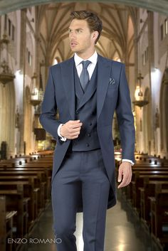 Wedding Suit 2017 Latest Coat Pant Design Navy Blue Wedding Suits for Men Tailcoat Groom Tuxedo Slim Fit Custom Suit 3 Piece Blazer Masculino Morning Coat, Morning Suits, Blue Suit Wedding, Wedding Tux, Modern Mens Fashion, Groom Tuxedo, Groom Attire, Perfect Wedding Dress, Suit And Tie