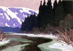 5 x 7 inches**all sizes are approximatePrinted inside: Season's GreetingsMeilleurs vœuxImage credit:Clarence Gagnon, 1881 - Hills, 1928 - cmGift of Col. Canadian Painters, Canadian Artists, Winter Trees, Winter Art, Small Paintings, Landscape Paintings, Quebec, Clarence Gagnon, Painting Snow