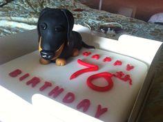 Sausage dog Victoria sponge birthday cake