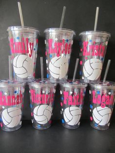 Volleyball team personalized acrylic tumblers, any sports team or club, school colors - set of 12