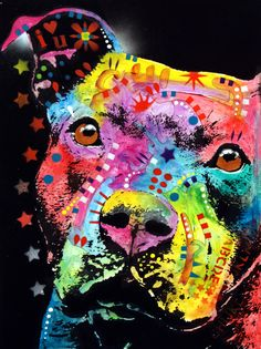 Thoughtful Pitbull I Heart U Painting by Dean Russo - Thoughtful Pitbull I Heart U Fine Art Prints and Posters for Sale
