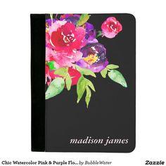Chic Watercolor Pink & Purple Flowers Padfolio