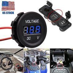 DC12V LED Panel Digital Voltage Meter Display Blue Volt meter Car Motorcycle US