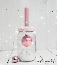 kugel im glas... kerzenhalter deko... #christmascandlesjars