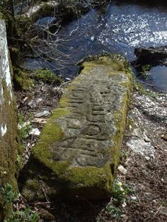 """Slaughter Bridge 3m long inscribed stone, Camelford. Also known as King Arthur's Tomb due to a misreading of the inscription, """"LATINI IC IACIT FILIUS MACARI"""" 'Latinus lies here, son of Macarius'. An Ogam inscription on one side of the stone reads 'LATINI'."""
