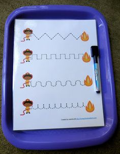 """After completing the """" D is for Dalmatian """" and """" E is for Emergency """" tot trays, Smiley B finished up our Firefighter Unit wit. Preschool Special Education, Preschool Curriculum, Preschool Themes, Preschool Schedule, Preschool Learning, Homeschooling, Fire Safety Crafts, Fire Safety Week, Community Helpers Preschool"""