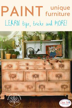 Learn the tips and tricks to creating unique painted furniture! This artist used Dixie Belle Paint in Apricot and Flamingo to create this fun look! Orange Painted Furniture, Painted Furniture For Sale, Unique Furniture, Repurposed Furniture, Love Painting, Painting Tips, Diy Furniture Projects, Furniture Makeover, Florida Oranges