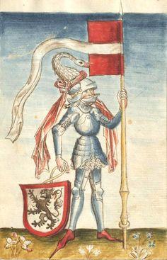 Lichtenberg coat-of-arms. Graf Philipp I. von Hanau (1417-1480) x Anna von Lichtenberg (f°5r) -- «Bellifortis», by Konrad Kyeser, Elsaß, um 1460 [Frankfurt Universität UB Ms. germ. qu. 15]