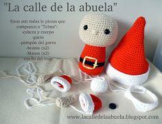 """La calle de la abuela: """"TELMO"""", el pequeño ayudante de Santa Claus Knitted Christmas Decorations, Christmas Crochet Patterns, Christmas Knitting, Crochet Christmas, Crochet Dolls, Crochet Hats, Free Pattern, Art Projects, Xmas"""