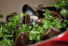 Muslinger i hvidvin og flødesauce - Opskrift på Moules Frites