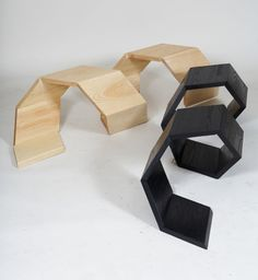 """The """"Screw it"""" is made of two modules which appearances are correctly same. Each module has twelve pieces of wood. There are 'hardwood joints' to bear the weight between pieces. Two modules can be combined into one so that people can sit in various ways. Maximum four people can sit on the chair at the same time. This chair has a possibility to be used for public spaces, office lobbies and so forth.    Design by: Cho Neulhae & Jaebeom Jeong"""