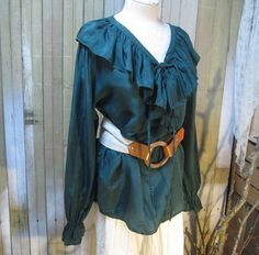 Vintage Forest Green Silk shirt ruffle corset tie by funkomavintage,
