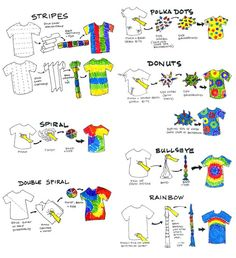 DIY tie dye This is a great guide. Wish I had it while doing daycamps in the Tie dye folding techniques.Methods for tie dye. Fête Tie Dye, Tie Dye Party, How To Tie Dye, Tie Dye Tips, Tie Dye Knots, Kids Tie Dye, Tie Dye Socks, Shibori Tie Dye, Tie Dye Crafts