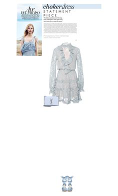 """Untitled #295"" by arees ❤ liked on Polyvore featuring Alexis, Altuzarra, Yves Saint Laurent, Blue, dress, lace, chokerdress and embellishedsleeves"