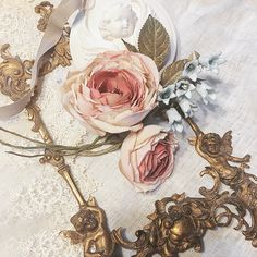 fabric flowers- old rose and campanula