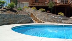 Custom Shape Pool With Retaining Wall And Jets Designed And Installed By SunSpot  Pool U0026 Patio