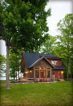 Lake cabin w red shutters