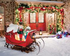 Santa's sleigh parked out front... guests would be wowed arriving for a party here!