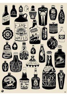 #kylermartz #tattoo #affiche # drunk #sergeant paper #artstore #Drunk again #Serigraphie 1 couleur sur papier popset 200gr Edition limitée à 50ex 46x61cm - numérotée et signée