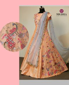 Classic long gown with peacock embellishments from Mugdha!! Code : MA - 85 For orders/Enquiries -  Contact Details:040-65550855/9949047889 Watsapp:9010906544 Email-id:Mugdha410@gmail.com Instagram:MugdhaArtStudio  mugdha  designer  couture